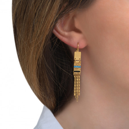 Boucles d'oreilles dormeuses féminines perles du Japon cristaux Prestige I bleu85533