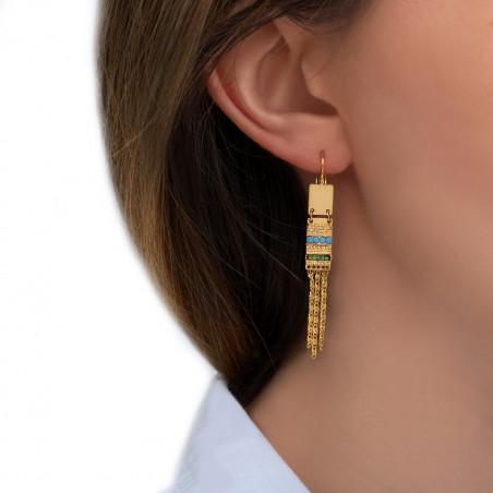 Boucles d'oreilles dormeuses ethniques perles du Japon cristaux Prestige I vert85536