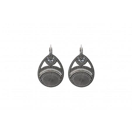 Boucles d'oreilles dormeuses graphiques cristaux Prestige I argenté