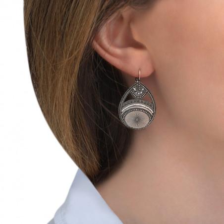 Boucles d'oreilles dormeuses graphiques cristaux Prestige I argenté85539