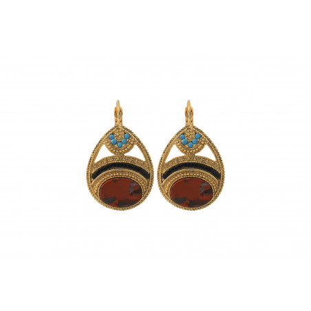Boucles d'oreilles dormeuses sophistiquées jaspe cristaux Prestige I rouge