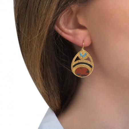 Boucles d'oreilles dormeuses sophistiquées jaspe cristaux Prestige I rouge85542