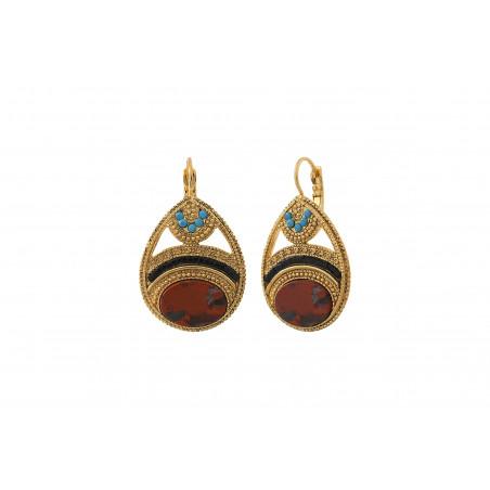Boucles d'oreilles dormeuses sophistiquées jaspe cristaux Prestige I rouge85543