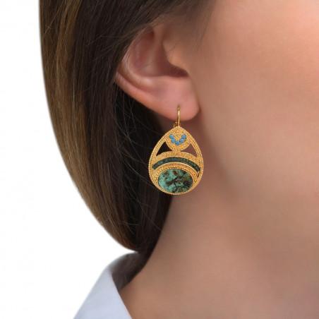 Boucles d'oreilles dormeuses féminines rubis zoisite cristaux Prestige I vert 85545
