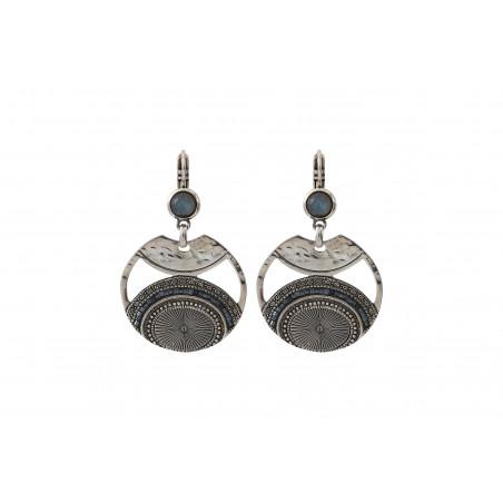 Boucles d'oreilles dormeuses modernes labradorite perles du Japon I argenté