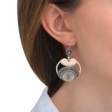 Boucles d'oreilles dormeuses modernes labradorite perles du Japon I argenté85548