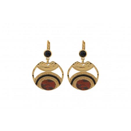 Boucles d'oreilles dormeuses glamour jaspe perles du Japon I rouge