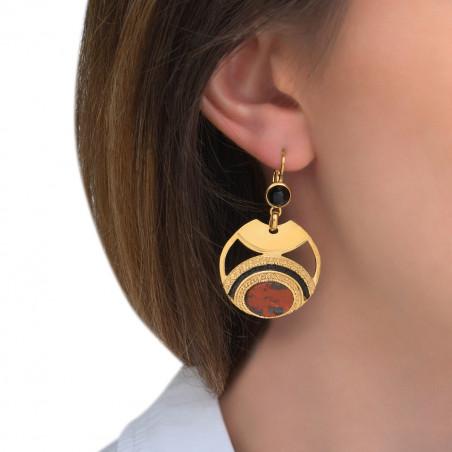 Boucles d'oreilles dormeuses glamour jaspe perles du Japon I rouge85551