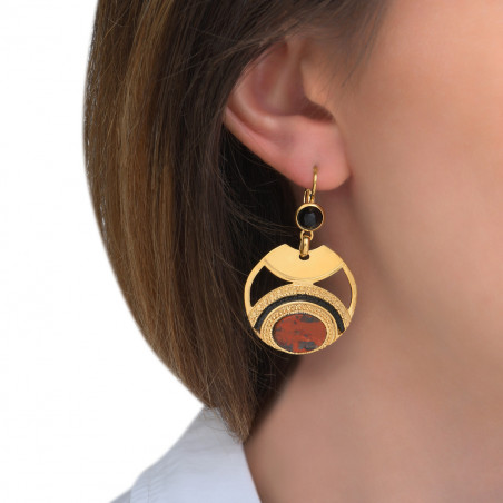 Glamorous jasper and Japanese seed bead sleeper earrings l red85551
