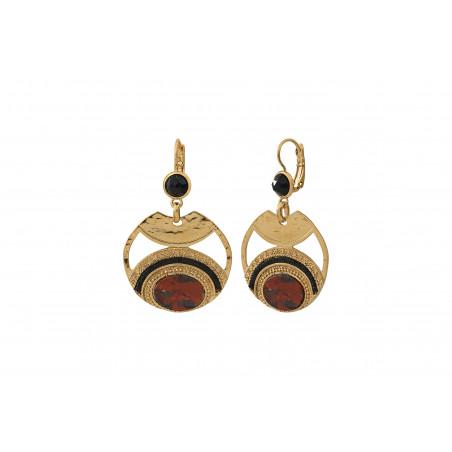 Boucles d'oreilles dormeuses glamour jaspe perles du Japon I rouge85552