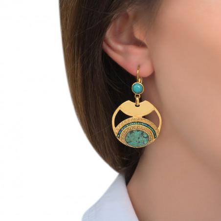 Boucles d'oreilles dormeuses tendance amazonite et rubis zoisite I bleu85554