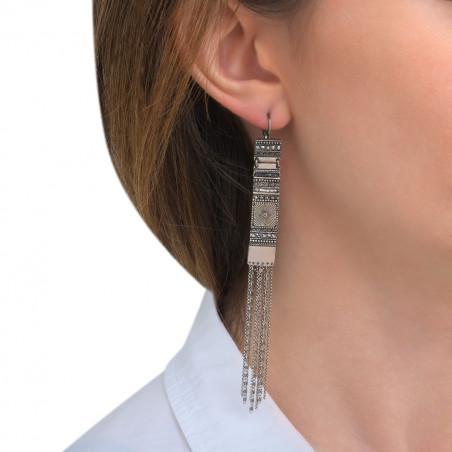Boucles d'oreilles dormeuses sophistiquées cristaux Prestige perles du Japon I argenté85566