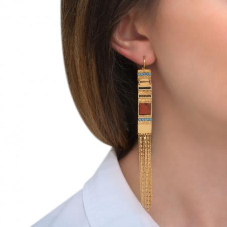 Boucles d'oreilles dormeuses festives jaspe cristaux Prestige et perles du Japon I rouge85569