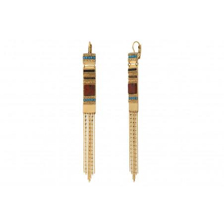 Boucles d'oreilles dormeuses festives jaspe cristaux Prestige et perles du Japon I rouge85570