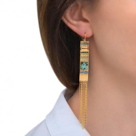 Boucles d'oreilles dormeuses bohèmes rubis zoisite cristaux Prestige I bleu85572
