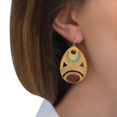 Boucles d'oreilles dormeuses chics jaspe perles du Japon I rouge85578