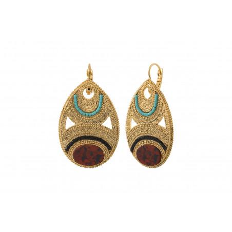 Boucles d'oreilles dormeuses chics jaspe perles du Japon I rouge85579