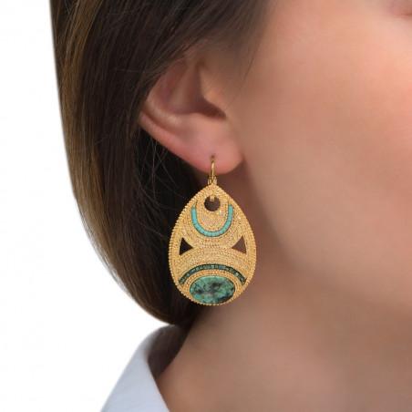 Boucles d'oreilles dormeuses fantaisie rubis zoisite perles du Japon I vert85581