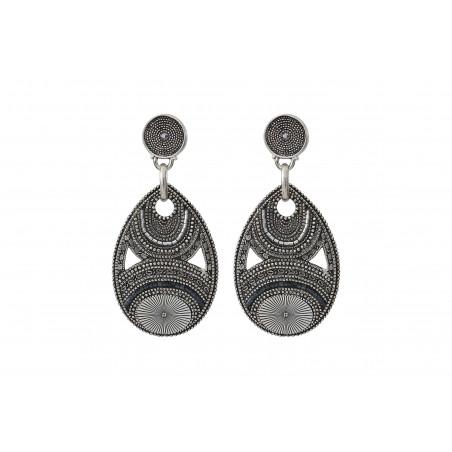 Boucles d'oreilles percées arty métal et perles du Japon I argenté