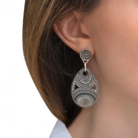 Boucles d'oreilles percées arty métal et perles du Japon I argenté85593