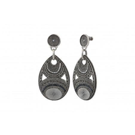 Boucles d'oreilles percées arty métal et perles du Japon I argenté85594