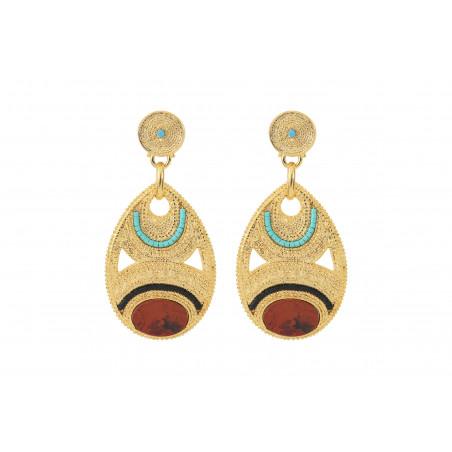Boucles d'oreilles percées glamour jaspe et perles du Japon I rouge