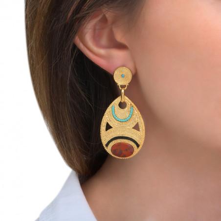 Boucles d'oreilles percées glamour jaspe et perles du Japon I rouge85596