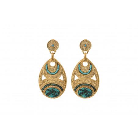 Boucles d'oreilles percées raffinées rubis zoisite perles du Japon I bleu