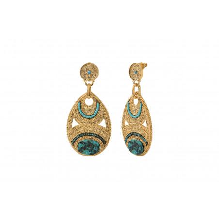 Boucles d'oreilles percées raffinées rubis zoisite perles du Japon I bleu85599