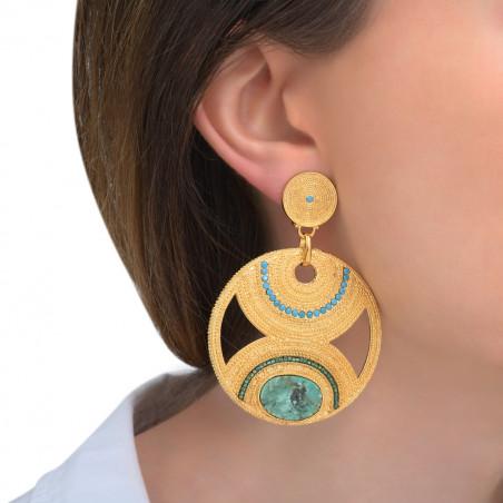 Boucles d'oreilles clips tendance rubis zoisite et perles du Japon I vert85607