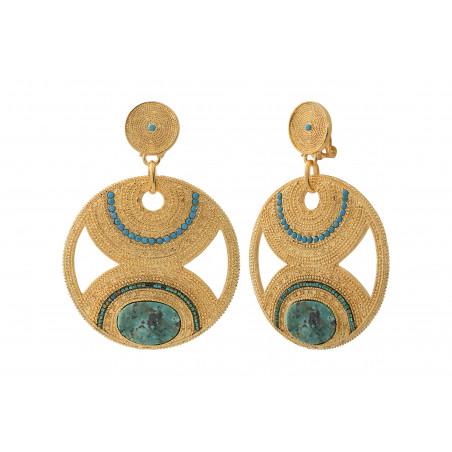 Boucles d'oreilles clips tendance rubis zoisite et perles du Japon I vert85608