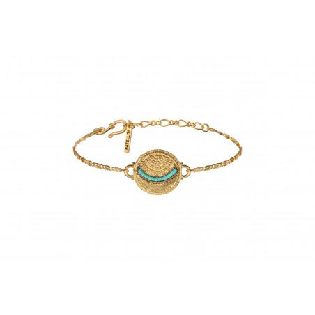 Bracelet souple coloré métal et perles du Japon I bleu