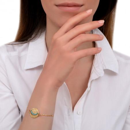 Bracelet souple coloré métal et perles du Japon I bleu85634