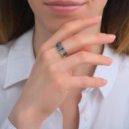 Bague ajustable rock perles du Japon et labradorite I argenté85724