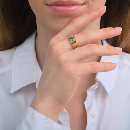 Bague ajustable ethnique rubis zoisite et perles du Japon I vert85728
