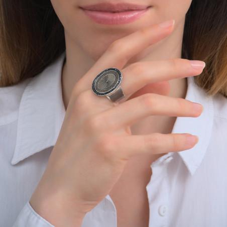 Bague ajustable fantaisie métal et perles du Japon I argenté85736