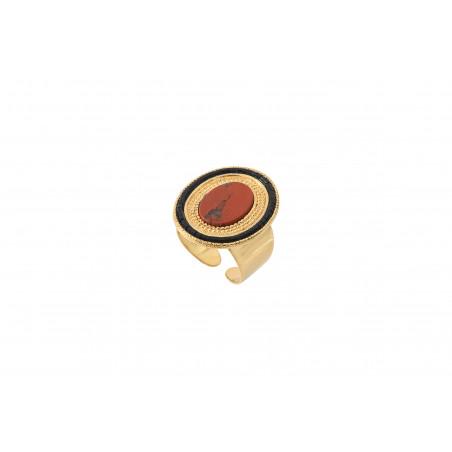 Bague ajustable originale jaspe et perles du Japon I rouge