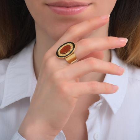 Bague ajustable originale jaspe et perles du Japon I rouge85738