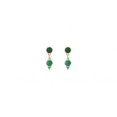 Boucles d'oreilles percées élégantes agate et apatite I vert