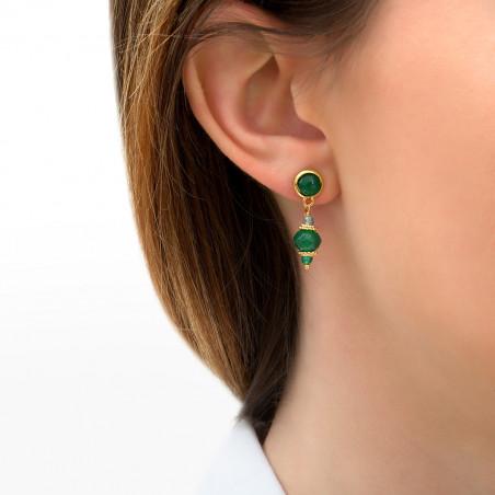 Boucles d'oreilles percées élégantes agate et apatite I vert85742