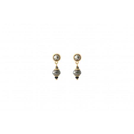 Boucles d''oreilles percées modernes onyx et pyrite I noir