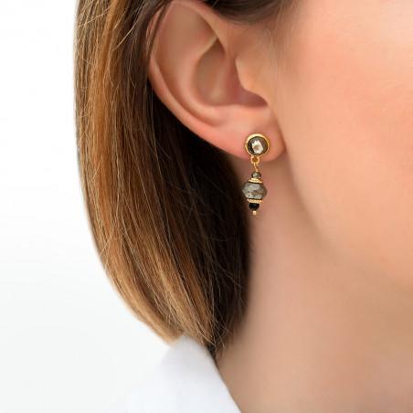 Boucles d''oreilles percées modernes onyx et pyrite I noir85744