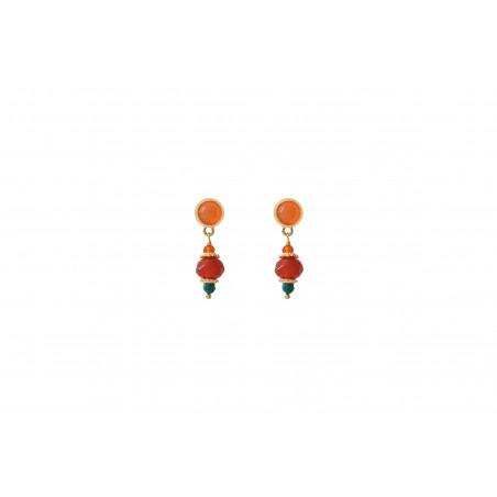 Boucles d'oreilles percées festives cornaline I orange
