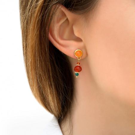 Boucles d'oreilles percées festives cornaline I orange85748