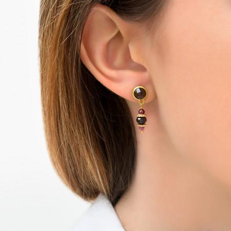 Boucles d'oreilles percées sophistiquées grenat et tourmaline I violet85750