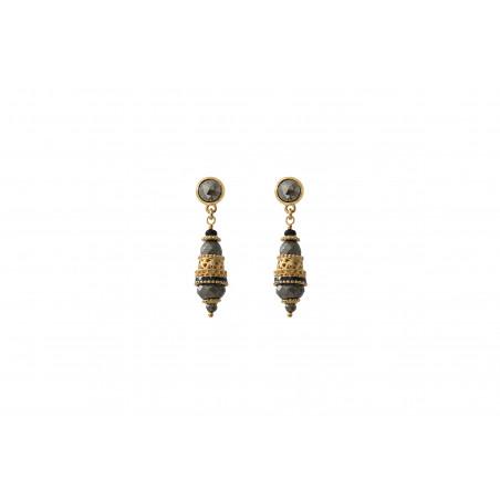 Boucles d'oreilles percées baroques onyx et pyrite I noir