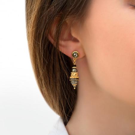 Boucles d'oreilles percées baroques onyx et pyrite I noir85752