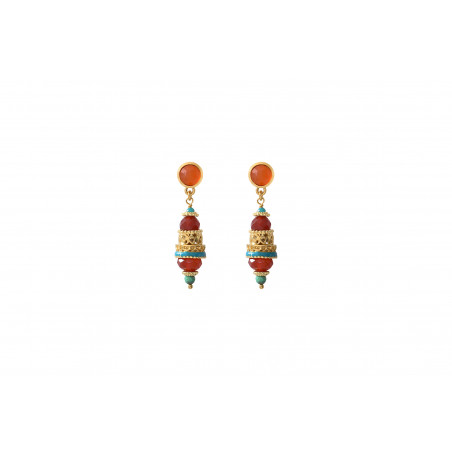 Boucles d'oreilles percées originales cornaline I orange