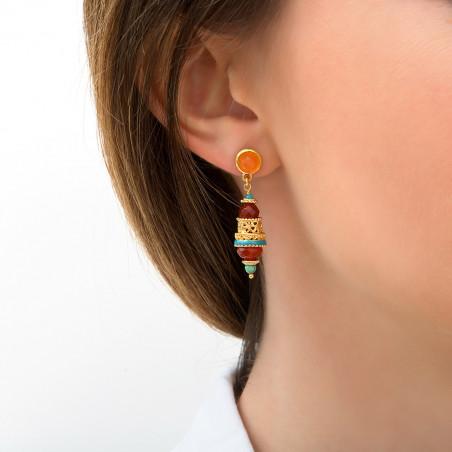 Boucles d'oreilles percées originales cornaline I orange 85756
