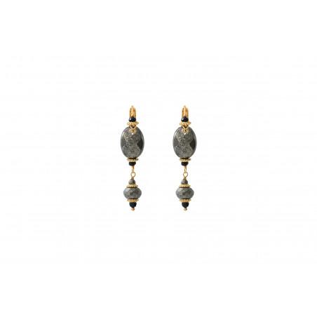 Boucles d'oreilles dormeuses sophistiquées onyx et pyrite I noir